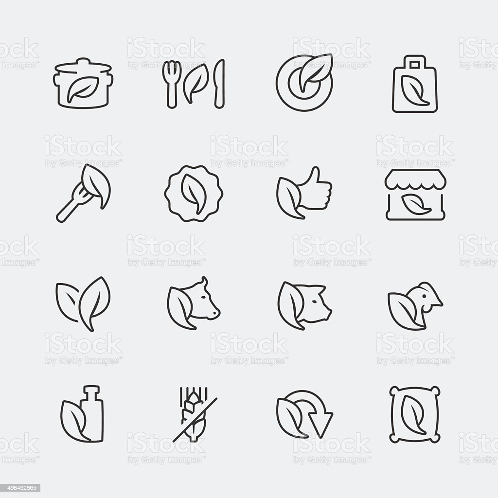 Vector organic and vegetarian food mini icons set vector art illustration
