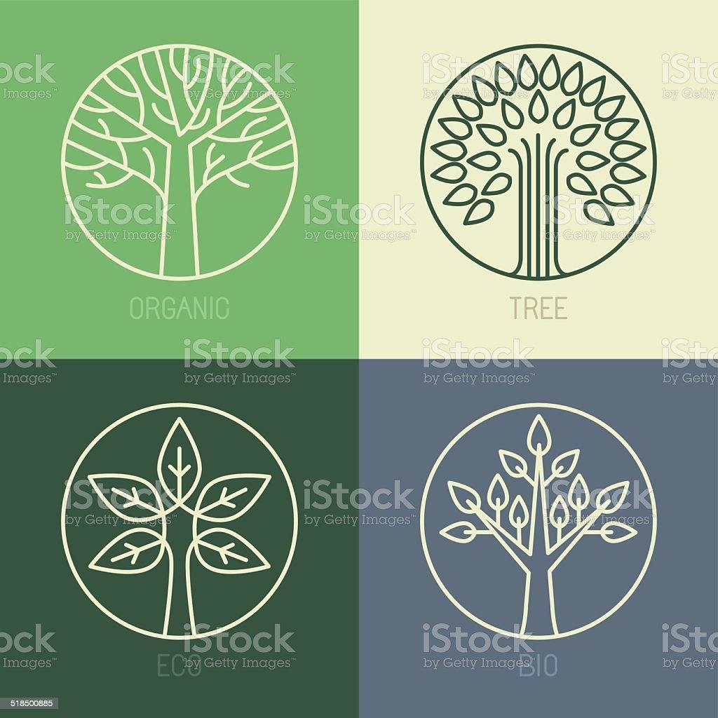 Vector organic badges vector art illustration
