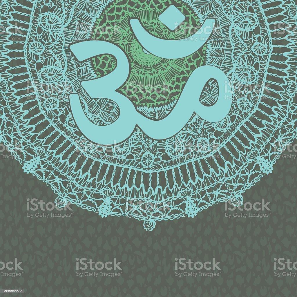 Vector oriental mandala with om symbol on patterned background vector art illustration