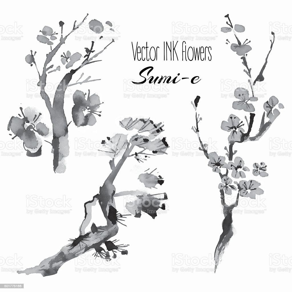 Vector oriental plants: pine branch, cherry, sakura, hand drawn vector art illustration