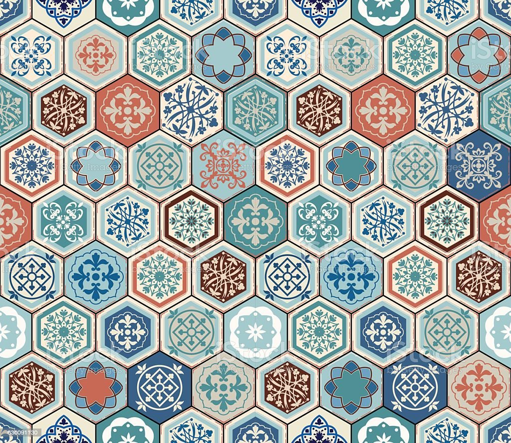 Vector Oriental seamless pattern. Realistic Vintage Moroccan, Portuguese hexagonal tiles vector art illustration