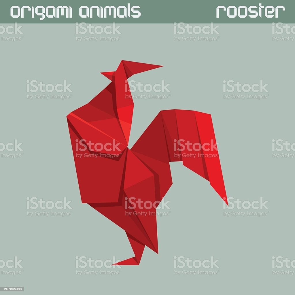 Vector origami isolated animal. Rooster. vector art illustration
