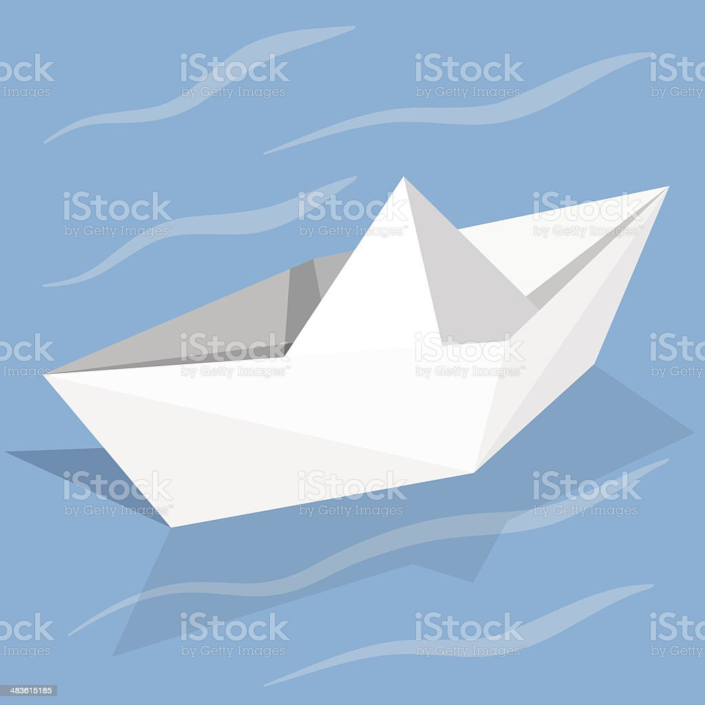 Vector origami paper ship on blue background royalty-free stock vector art