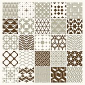Vector ornamental seamless backdrops set, geometric patterns col