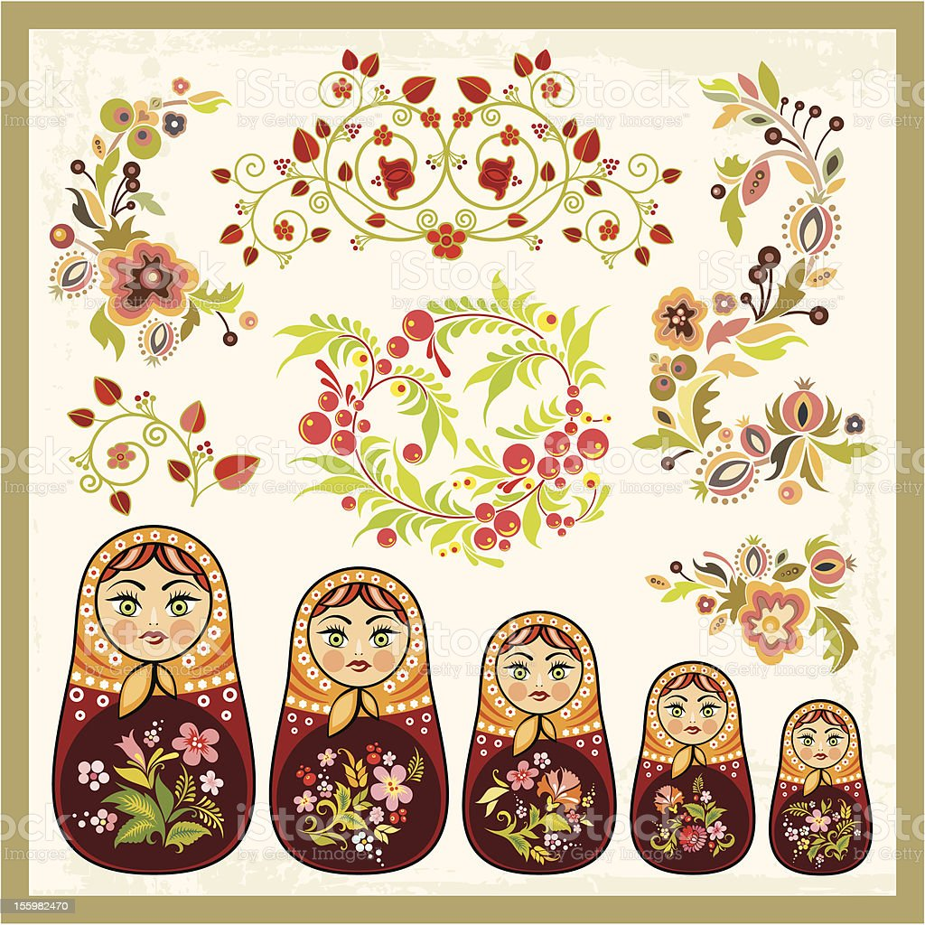 Vector Ornaments in Russian Style royalty-free stock vector art