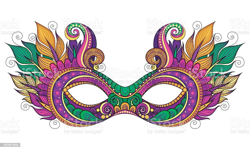 Vector Ornate Colored Mardi Gras Carnival Mask with Decorative Feathers vector art illustration