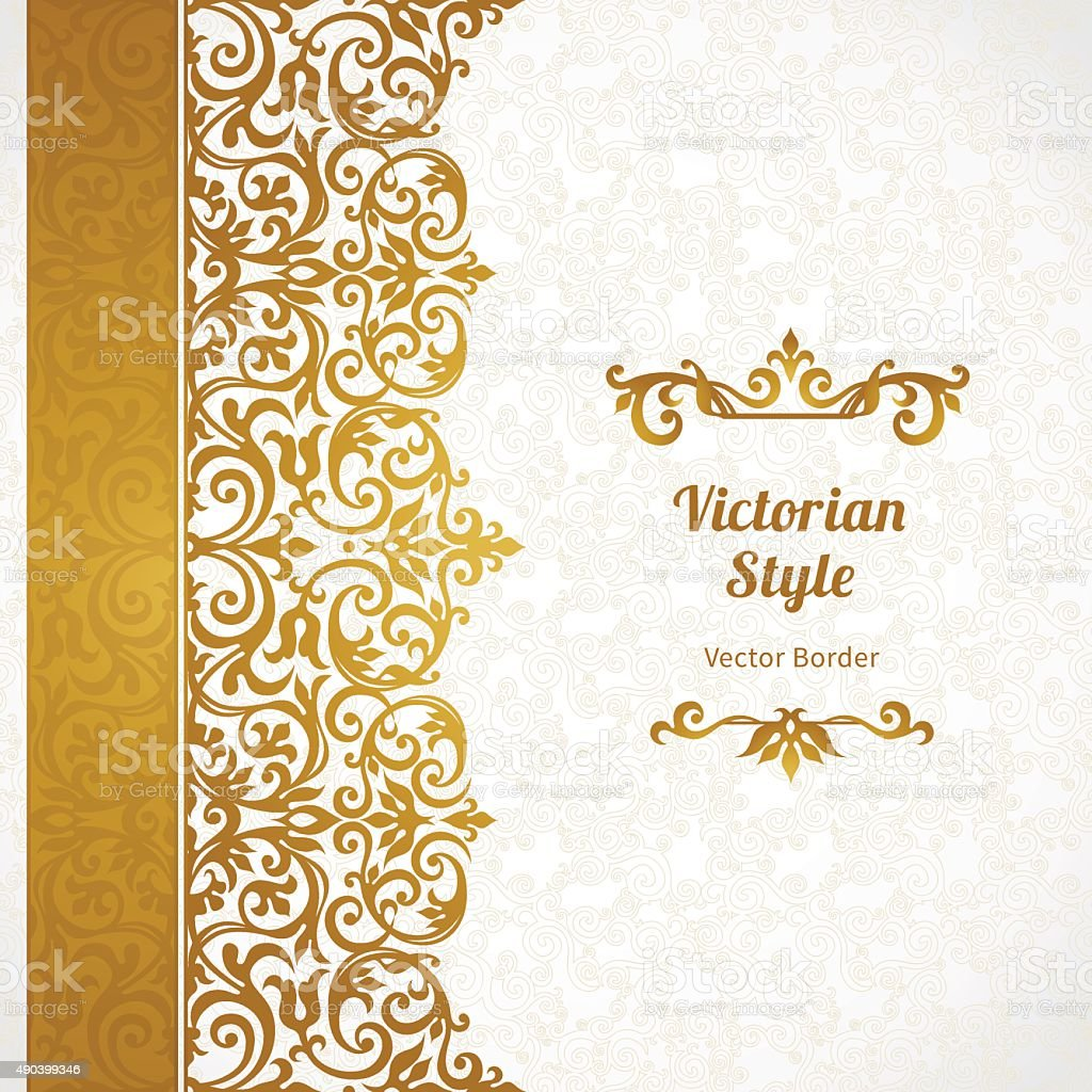 vector ornate seamless border in victorian style stock