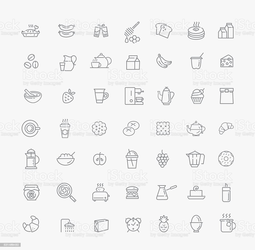 vector outline breakfast icons vector art illustration
