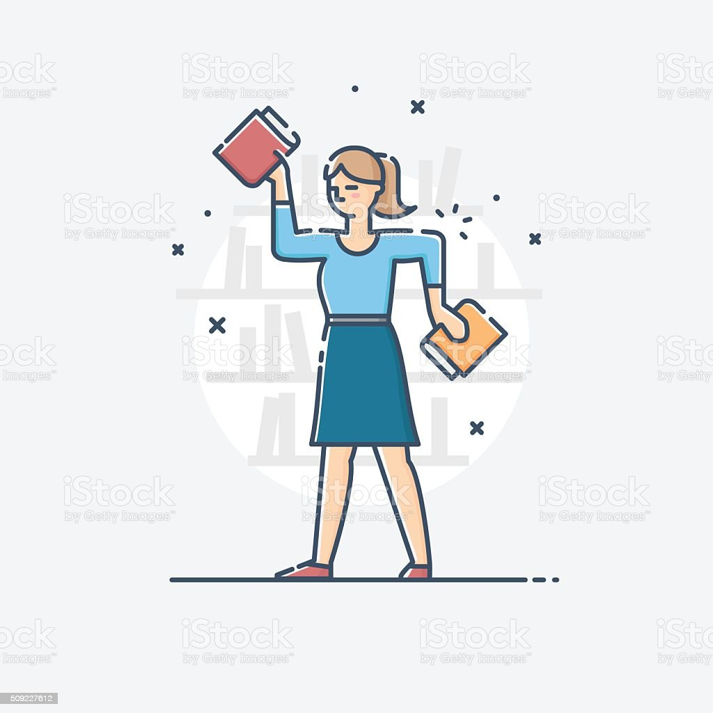 Vector outline business illustration of people profession librarian vector art illustration