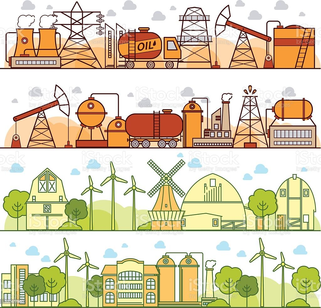 Vector outline ecology and oil industry infographic elements. En vector art illustration