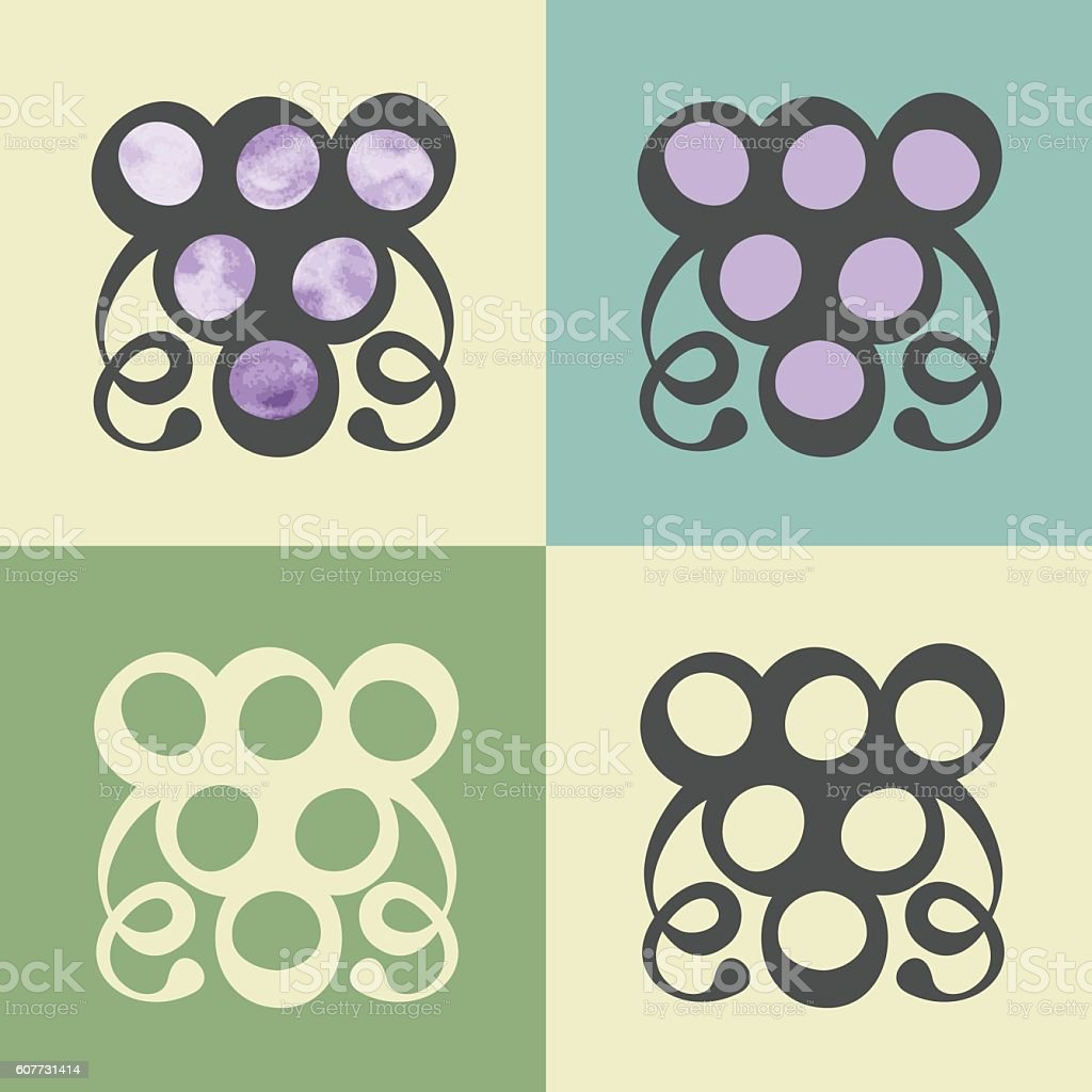 Vector outline grapes icon with watercolor fill. vector art illustration