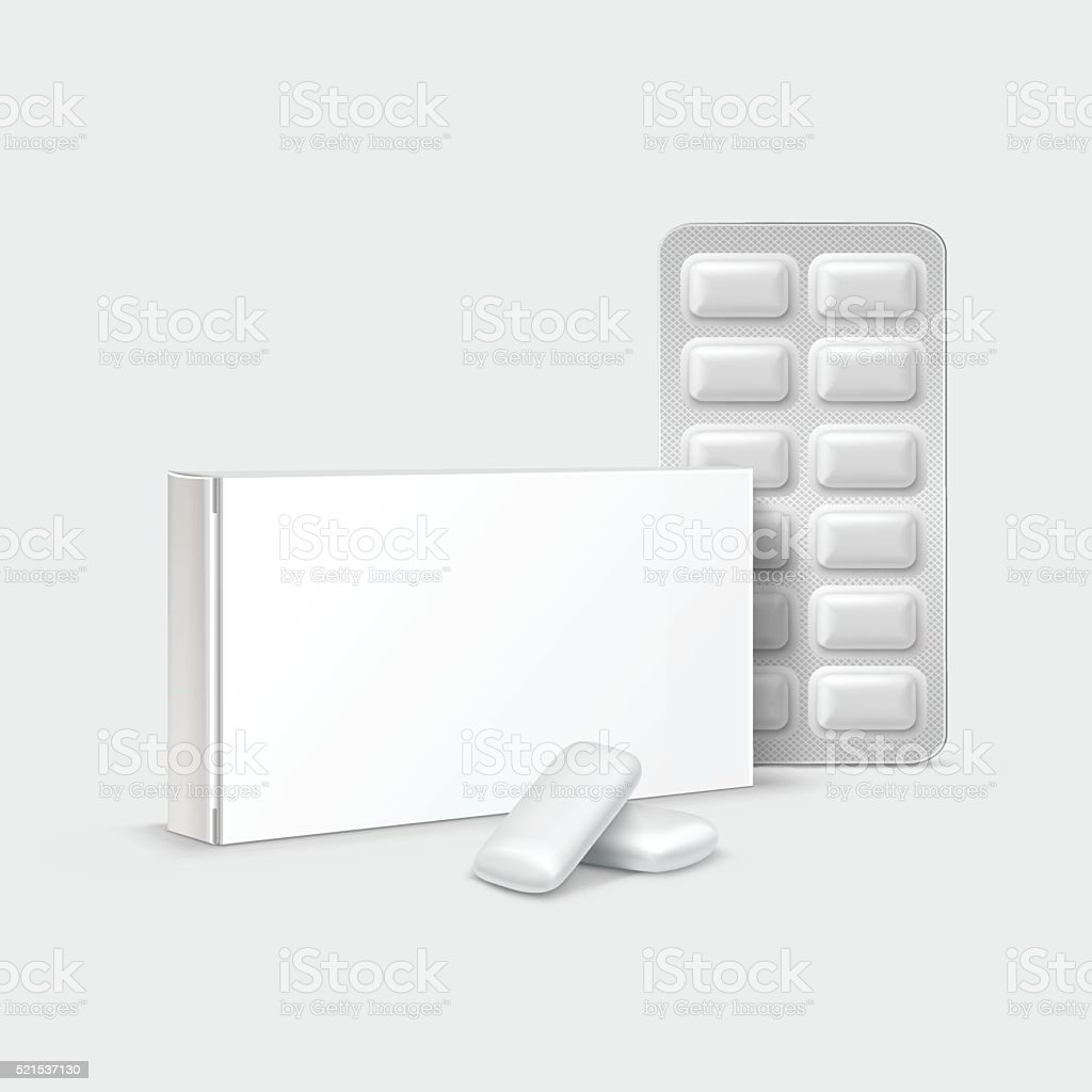Vector Pack of Chewing Gum Isolated on White Background vector art illustration