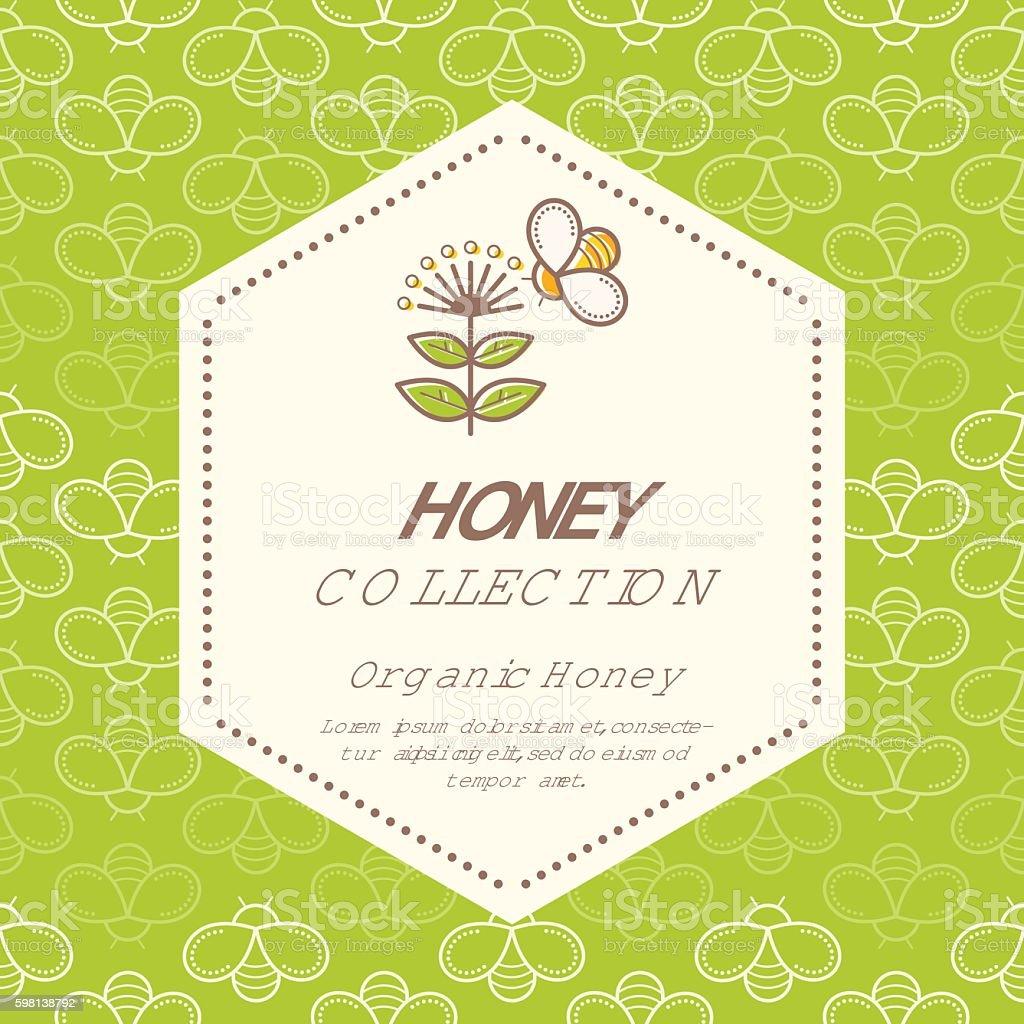Vector packaging design - natural honey collection vector art illustration