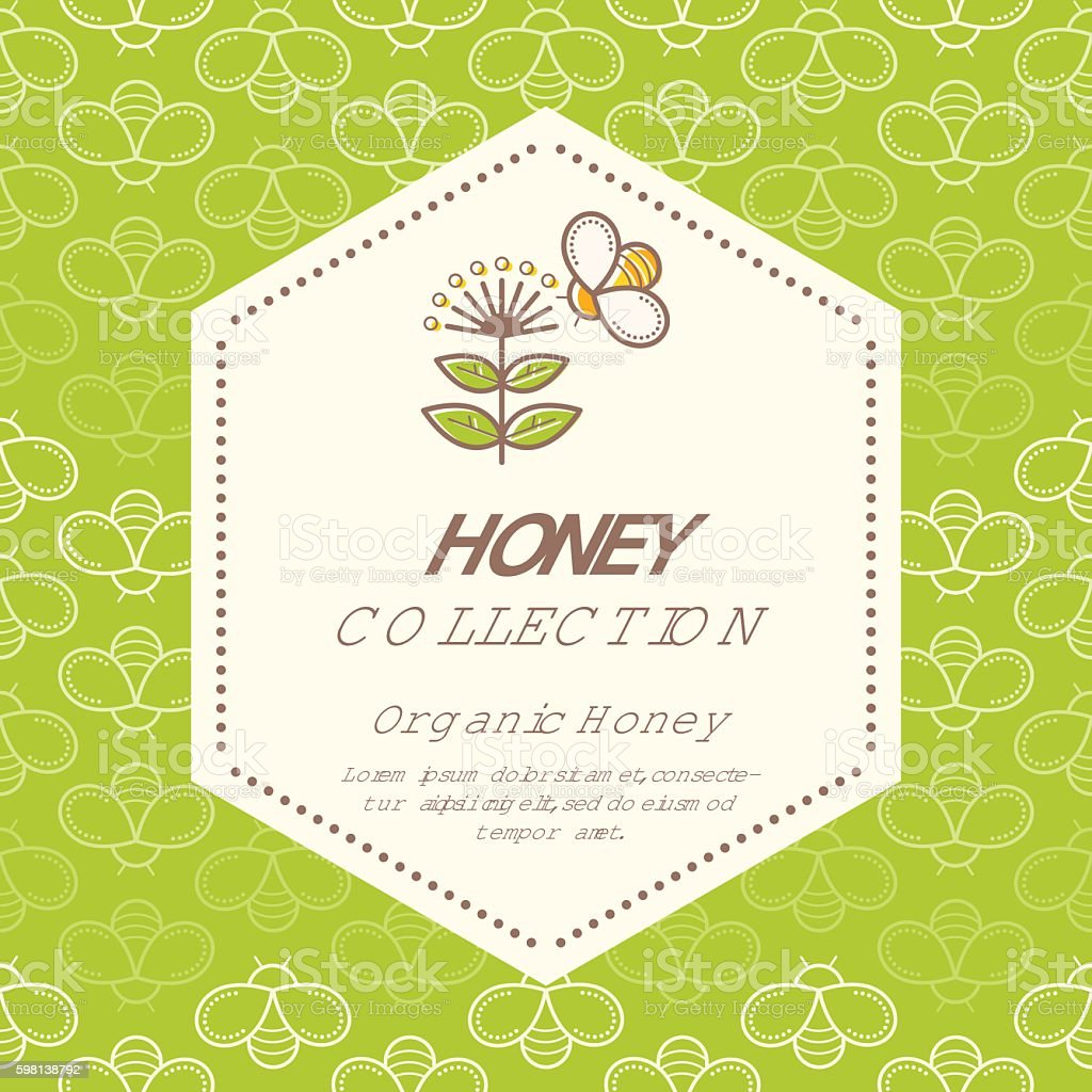 Vector packaging design - natural honey collection vector art illustration