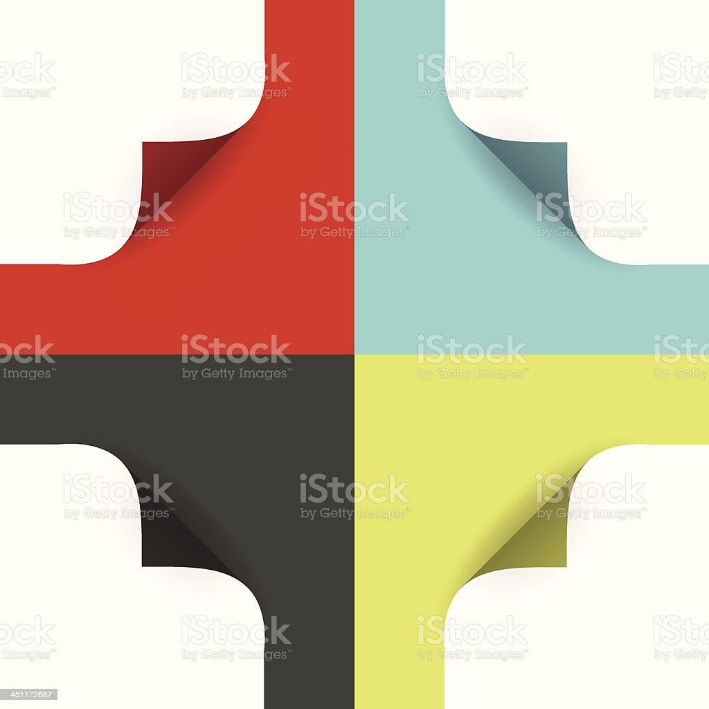 Vector page curls - various colors vector art illustration