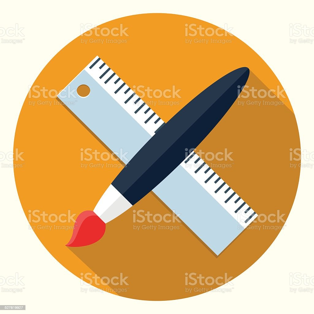 Vector pain brush and ruler icon vector art illustration
