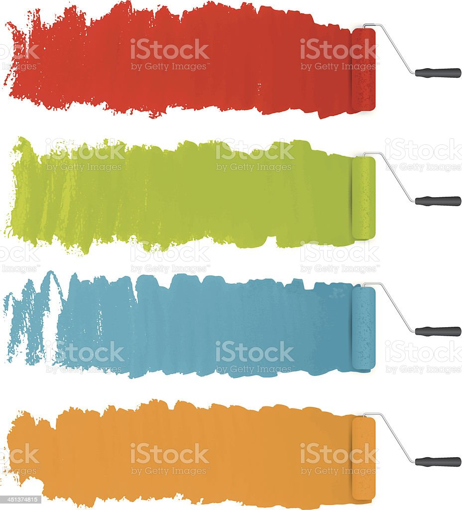 vector paint rollers with colorful paints background vector art illustration