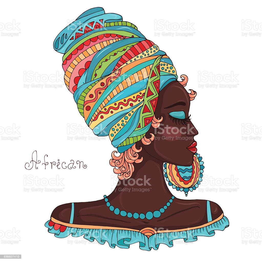 Vector painted portrait in profile of a beautiful African girl vector art illustration