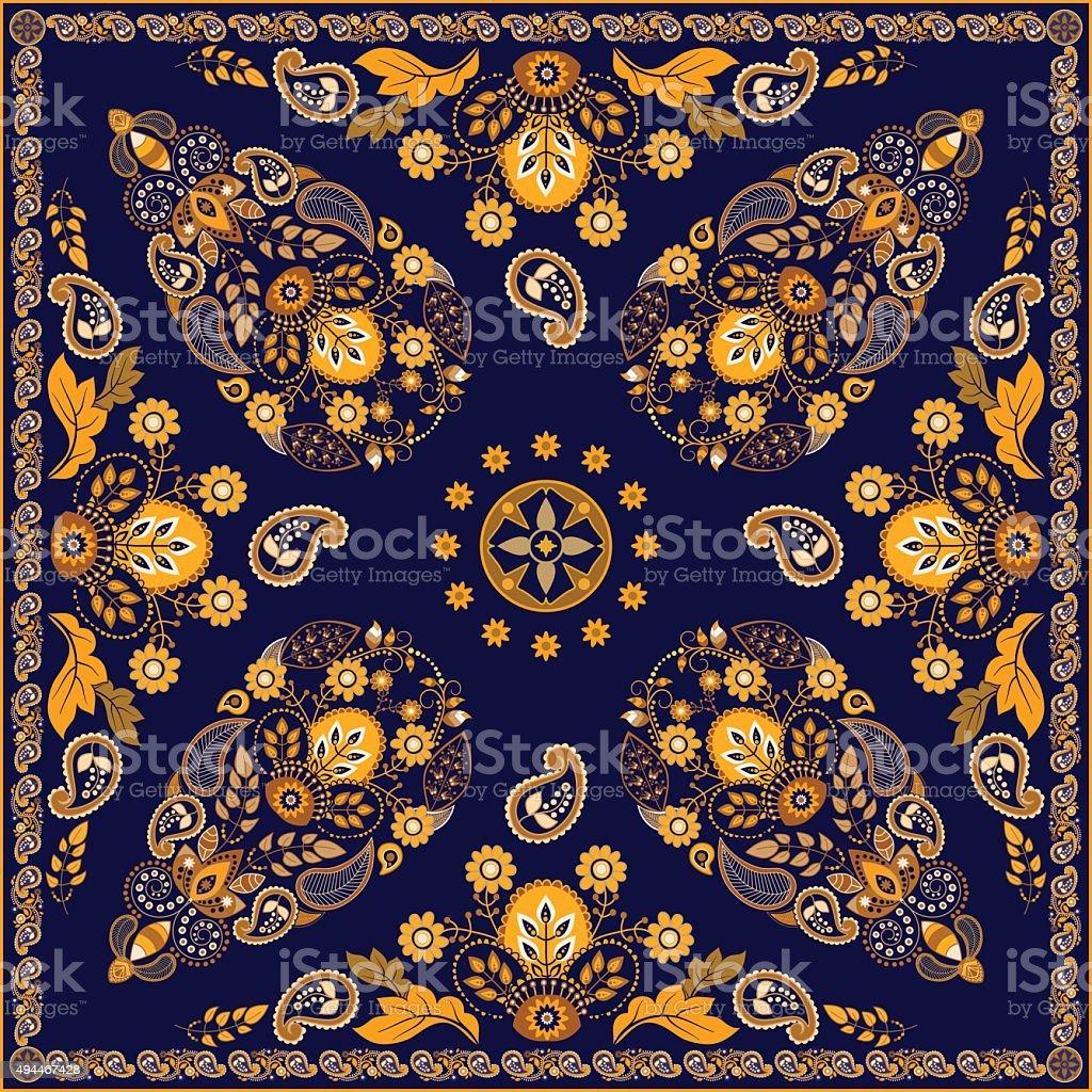 Vector Paisley floral square design vector art illustration