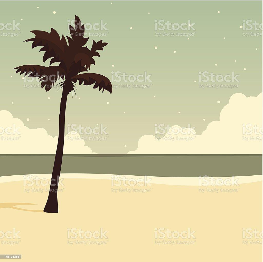 Vector palm on beach royalty-free stock vector art