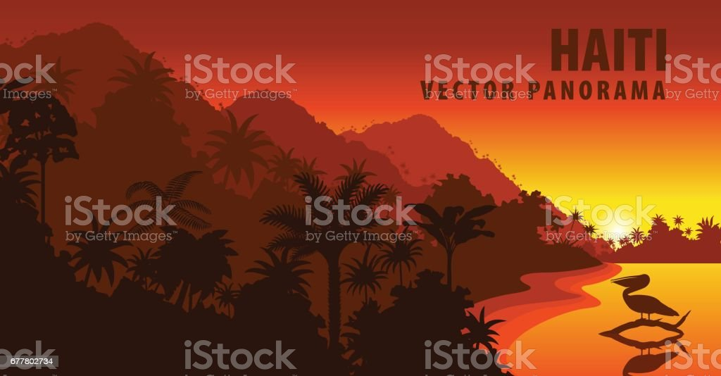 vector panorama of Haiti with beach and pelican vector art illustration