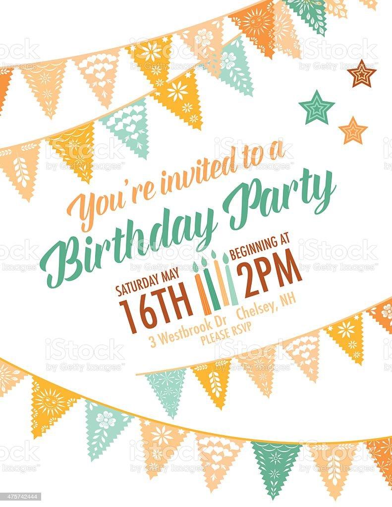 Vector Papel Picado birthday invitation template vector art illustration