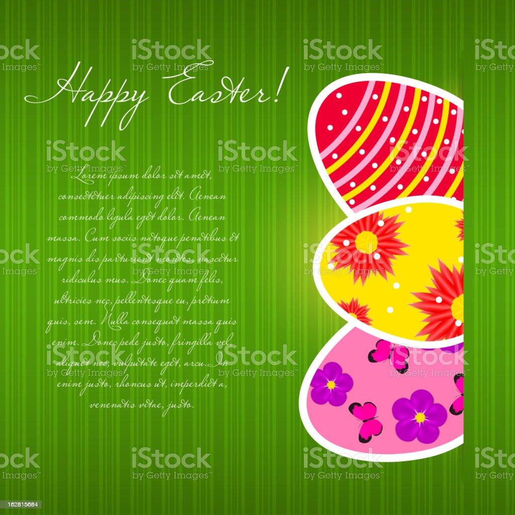 Vector  Paper card with  easter eggs. EPS 10. royalty-free stock vector art