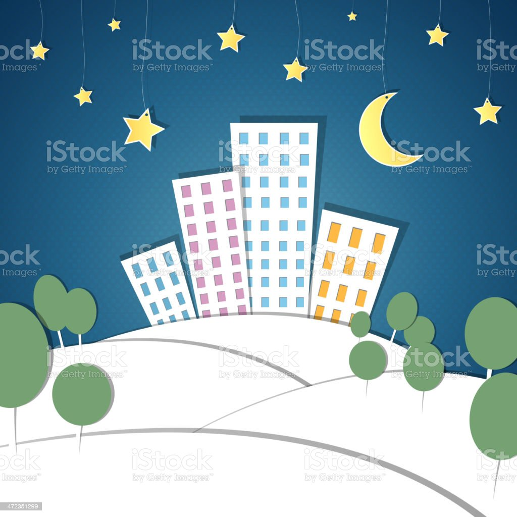 Vector Paper City at Night royalty-free stock vector art