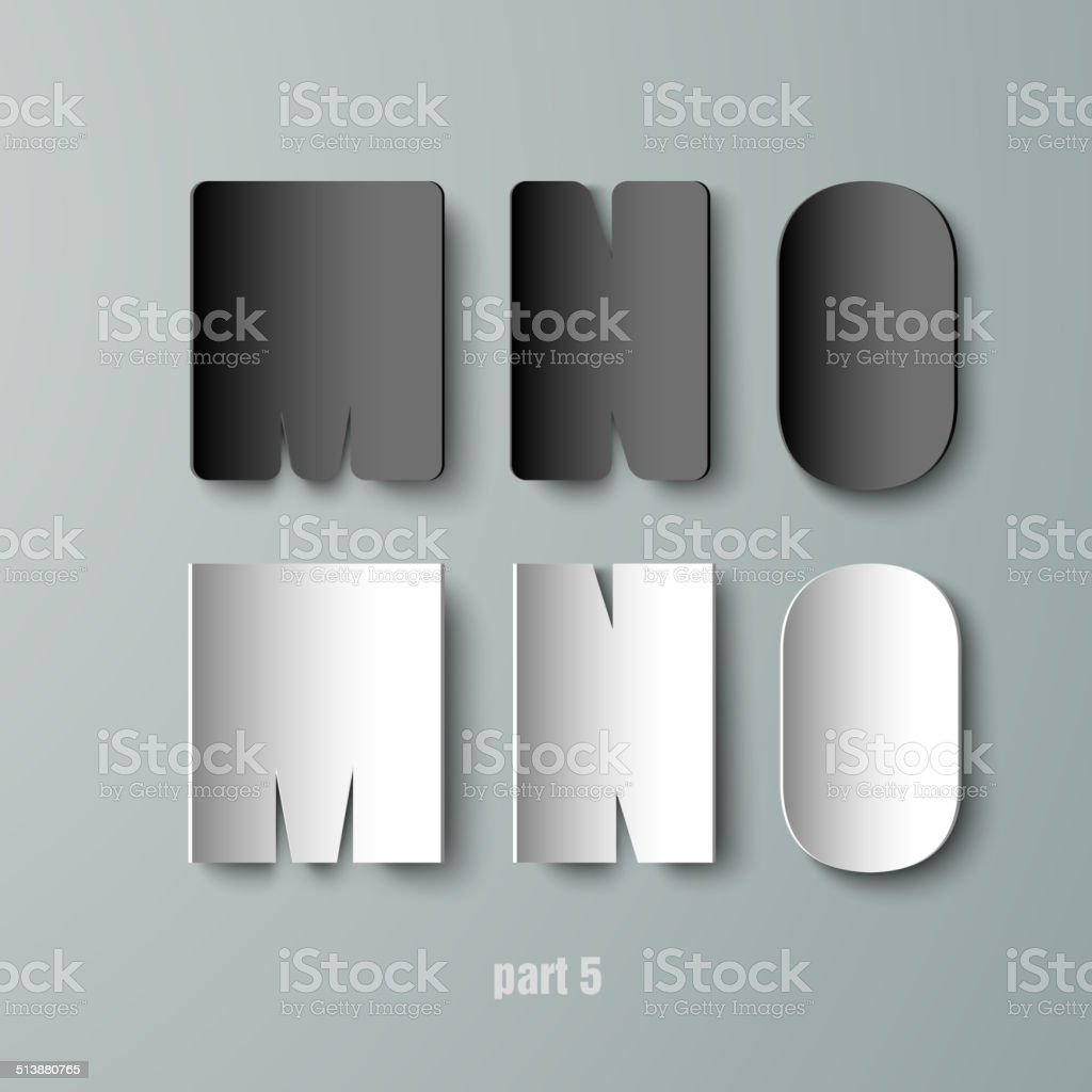 Vector Paper Graphic Alphabet white and black MNO vector art illustration