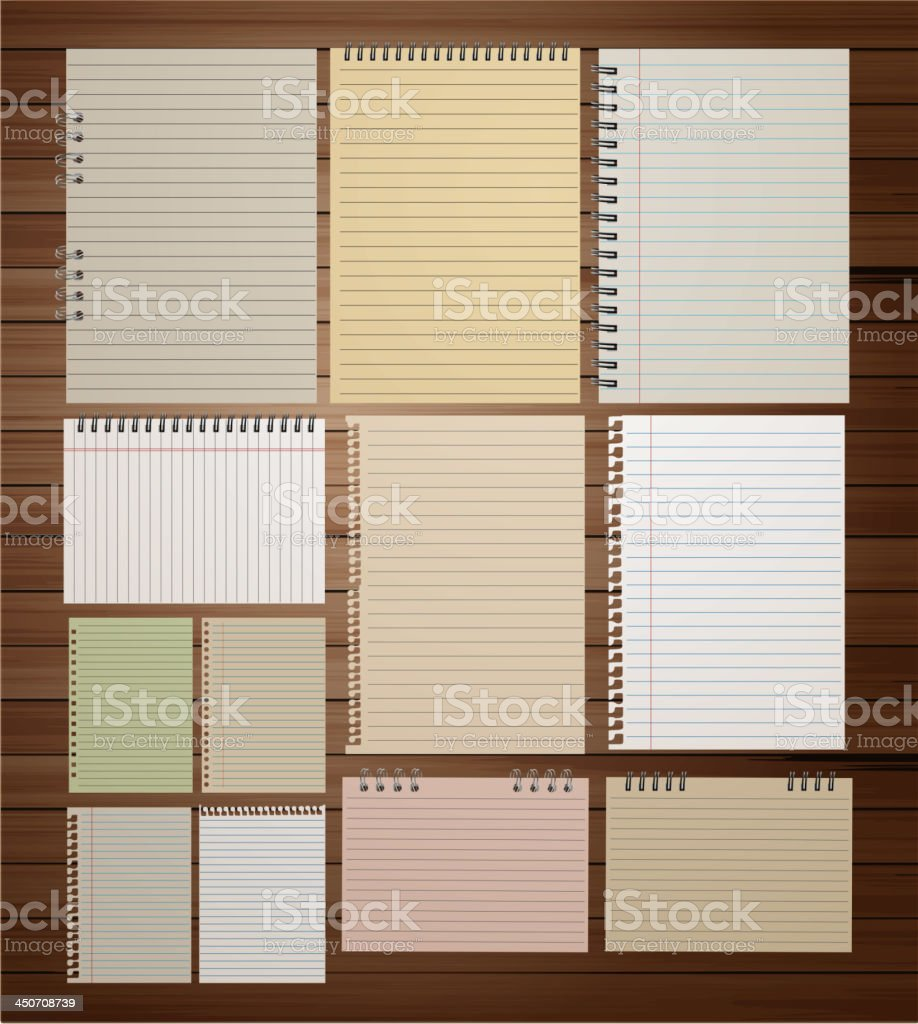 Vector paper on wood background royalty-free stock vector art