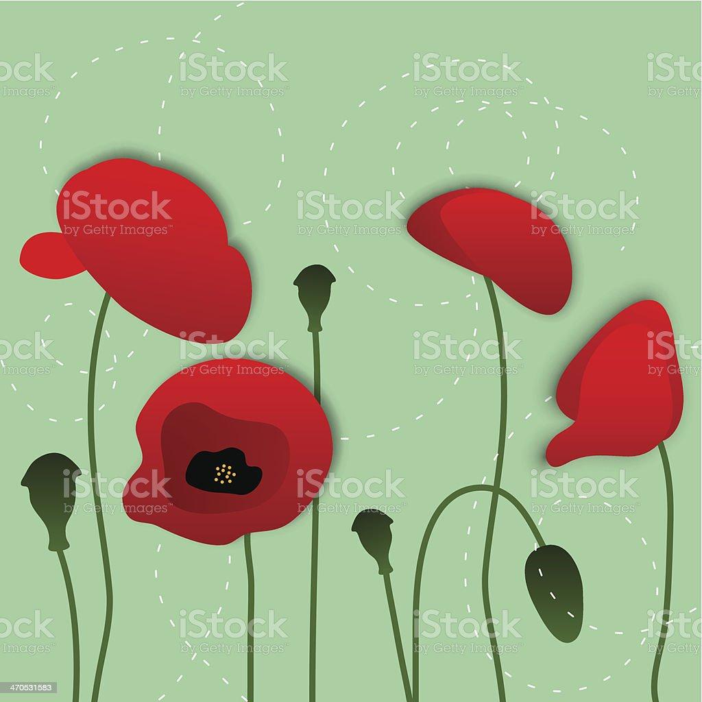 vector paper poppy flowers, floral background vector art illustration