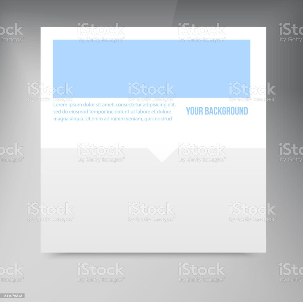 Vector paper template banner. White note vector art illustration