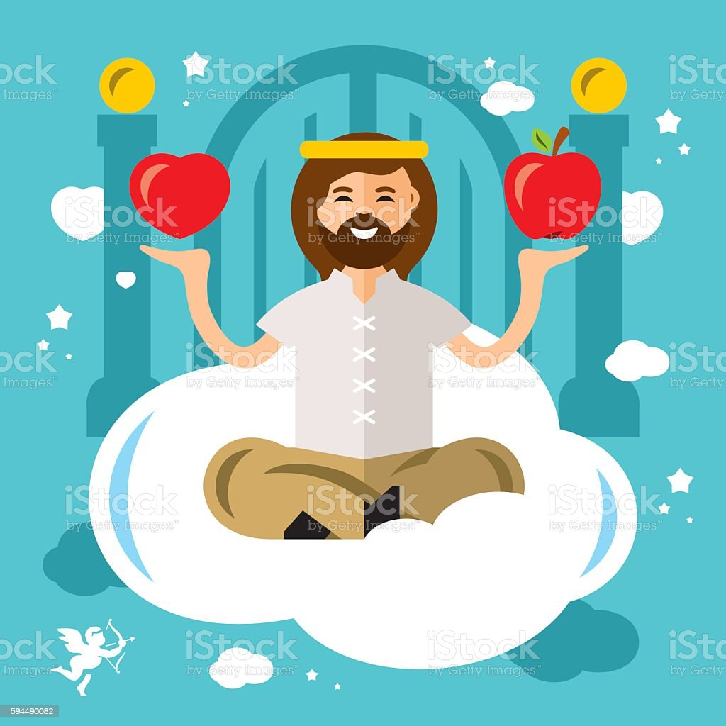 Vector Paradise Concept. God in heaven. Flat style colorful Cartoon vector art illustration