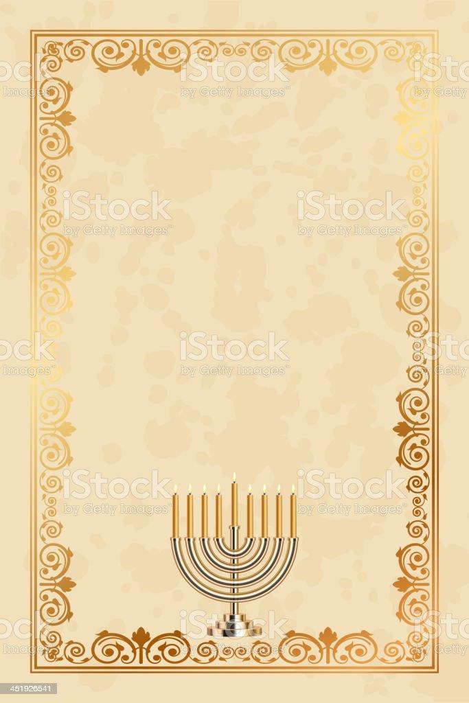 Vector parchment frame with the nine-branched Menorah (Hanukiah) vector art illustration