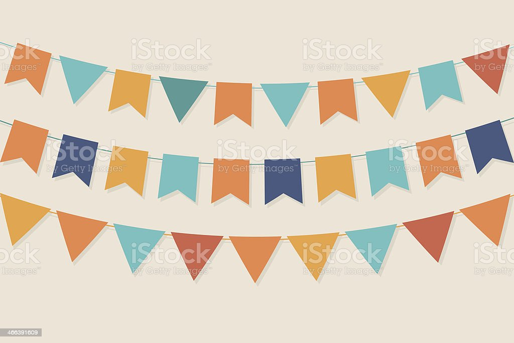 Vector party flags in pastel palette vector art illustration