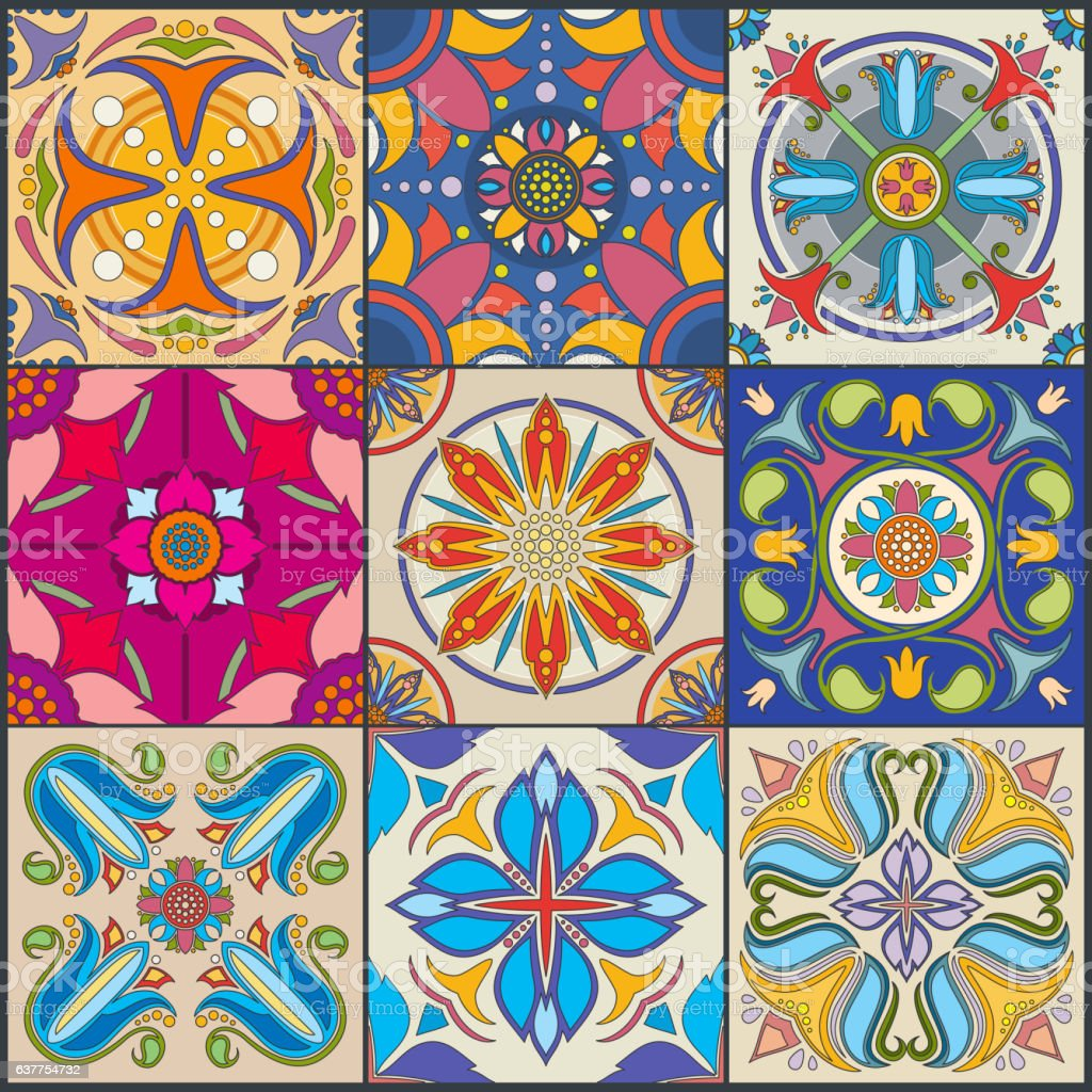 Vector patchwork seamless wall tile pattern, ceramic mexican tiles vector art illustration