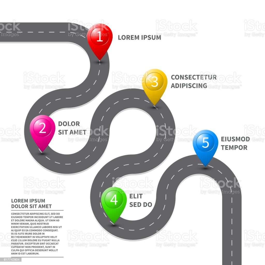 Vector pathway road map with GPS route pin icon vector art illustration