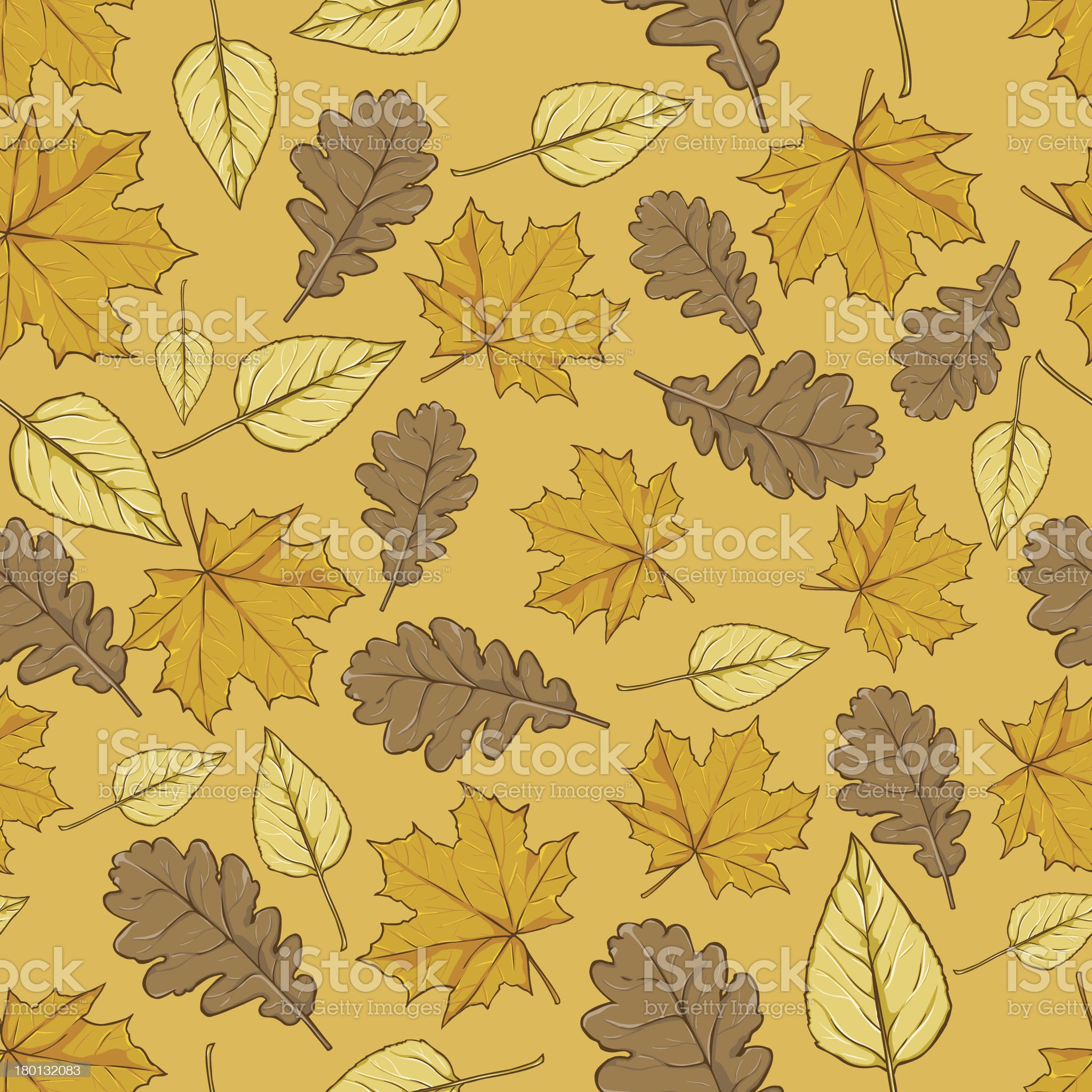vector pattern of autumn leaves on yellow background royalty-free stock vector art