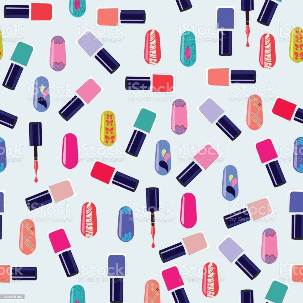 Vector pattern of colorful nail polish bottles. vector art illustration