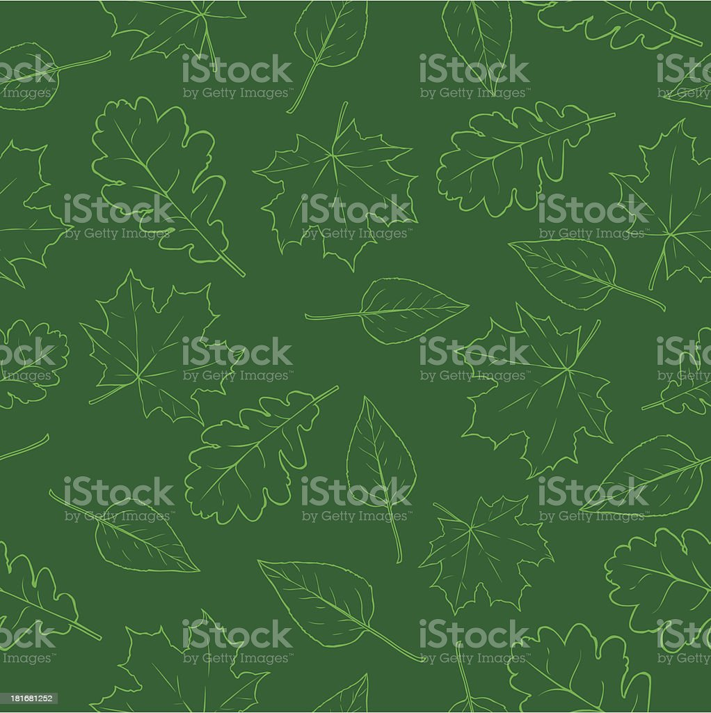 vector pattern of outline green leaves royalty-free stock vector art