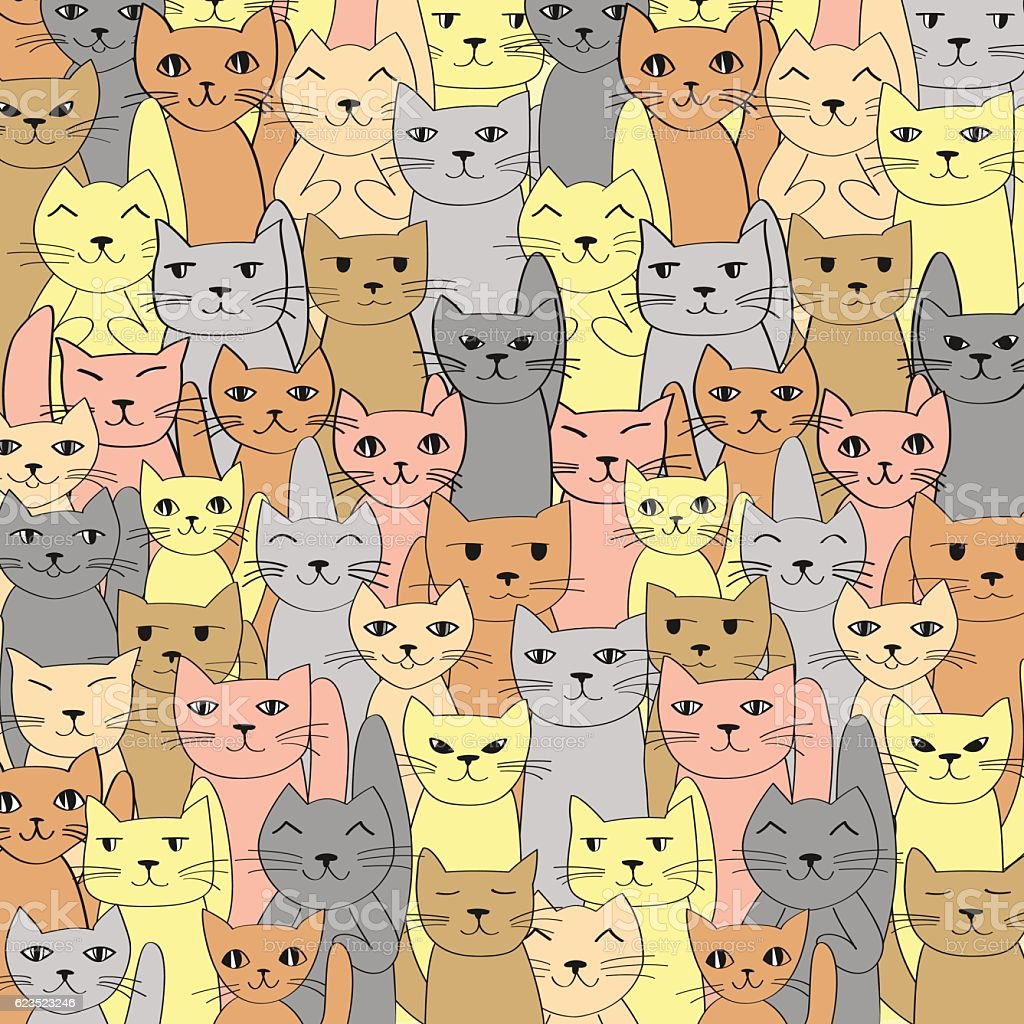 Vector pattern with cute cats. Many cats background