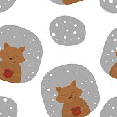 Vector pattern with fox and cup Printable templates