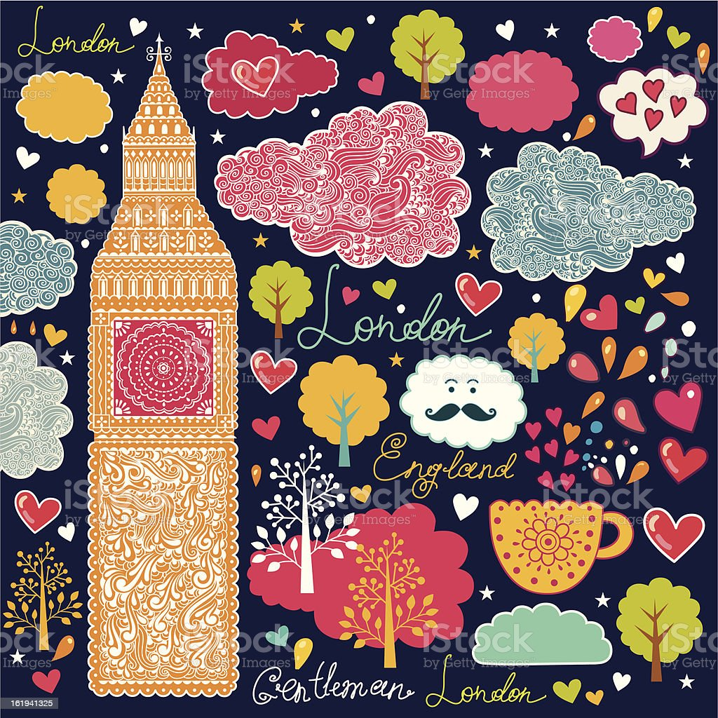 Vector pattern with London's symbols royalty-free stock vector art