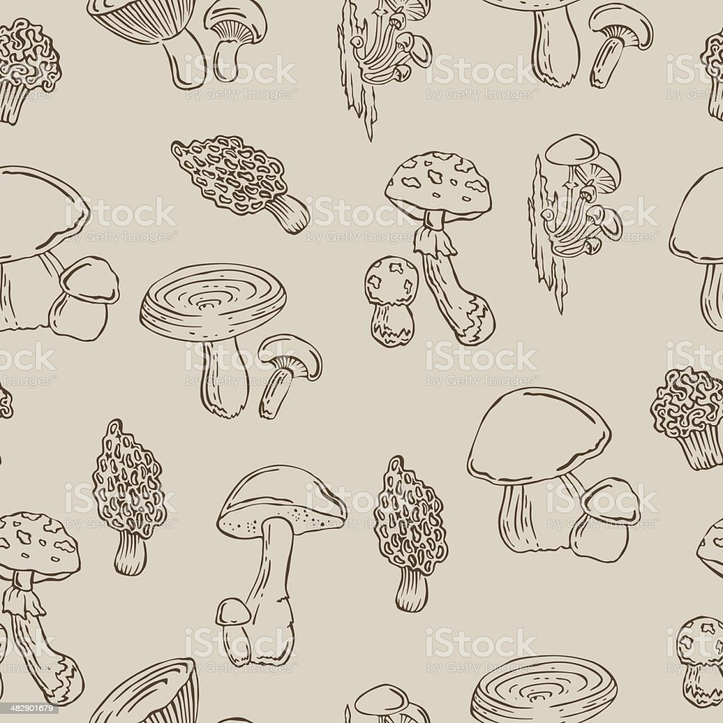 Vector pattern with mushrooms royalty-free stock vector art