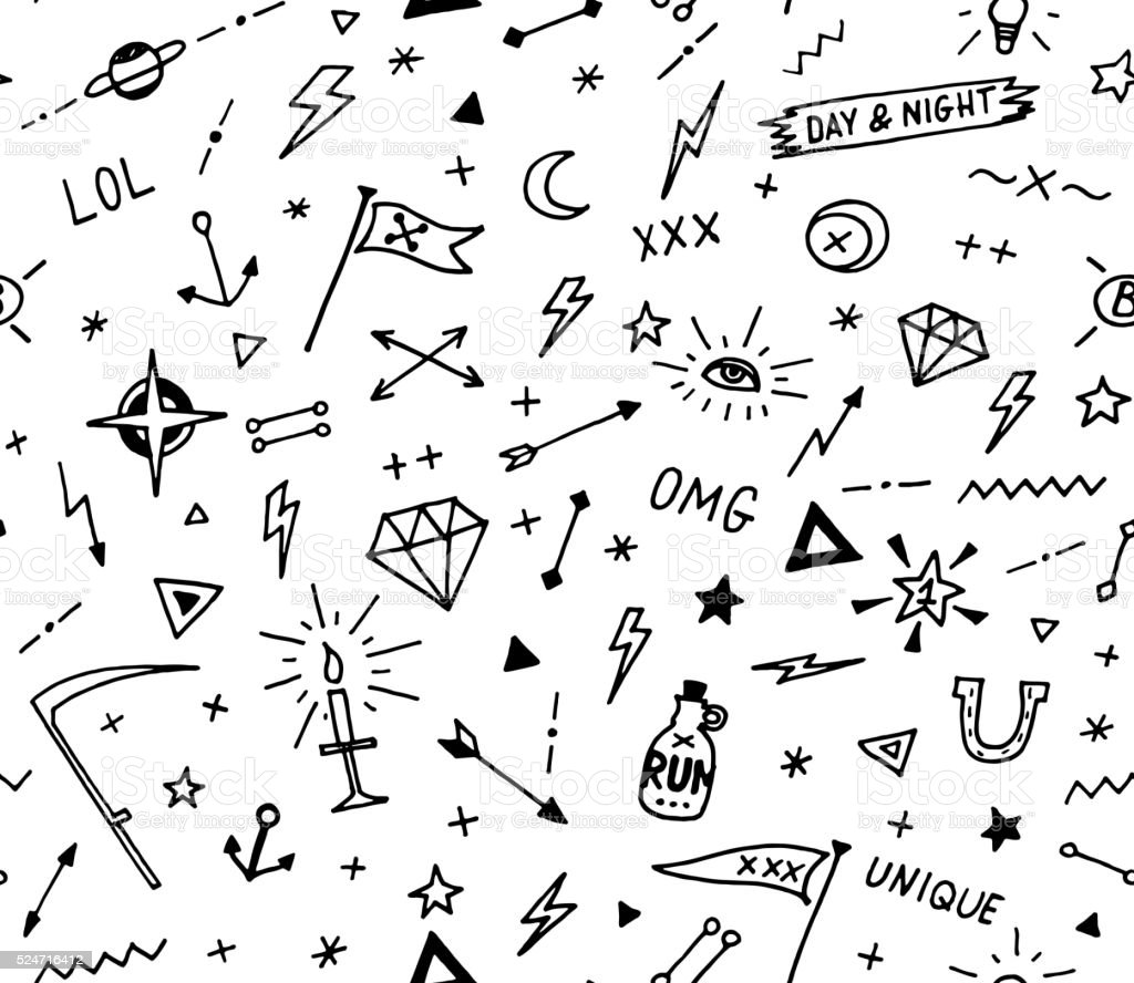 Vector pattern with old school tattoo elements. Black and white vector art illustration