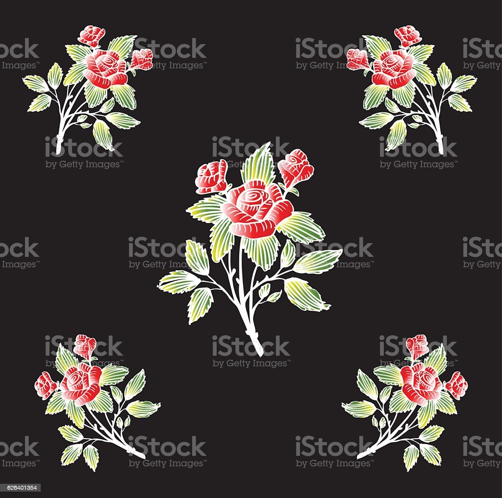 Vector pattern with rose. vector art illustration
