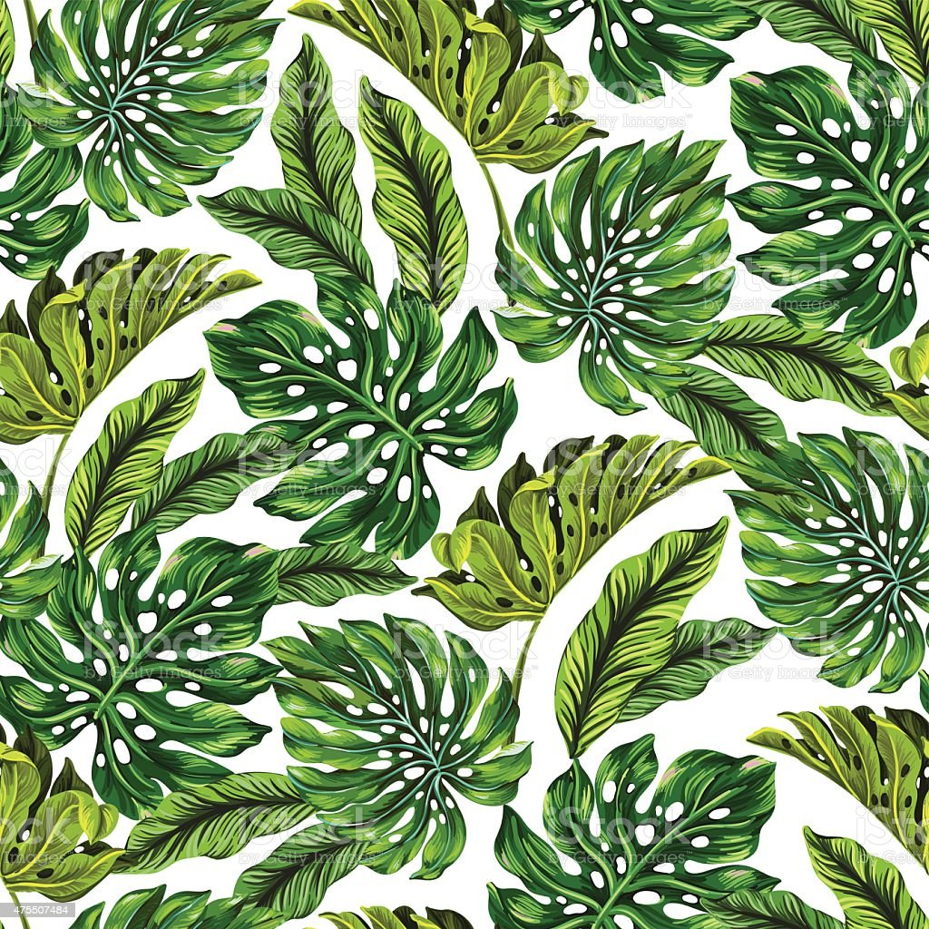 vector pattern with tropical leaves. vector art illustration