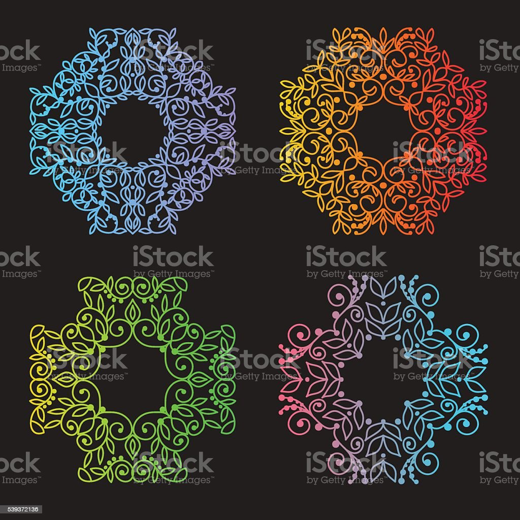 Vector  patterns set in trendy mono line style royalty-free stock vector art