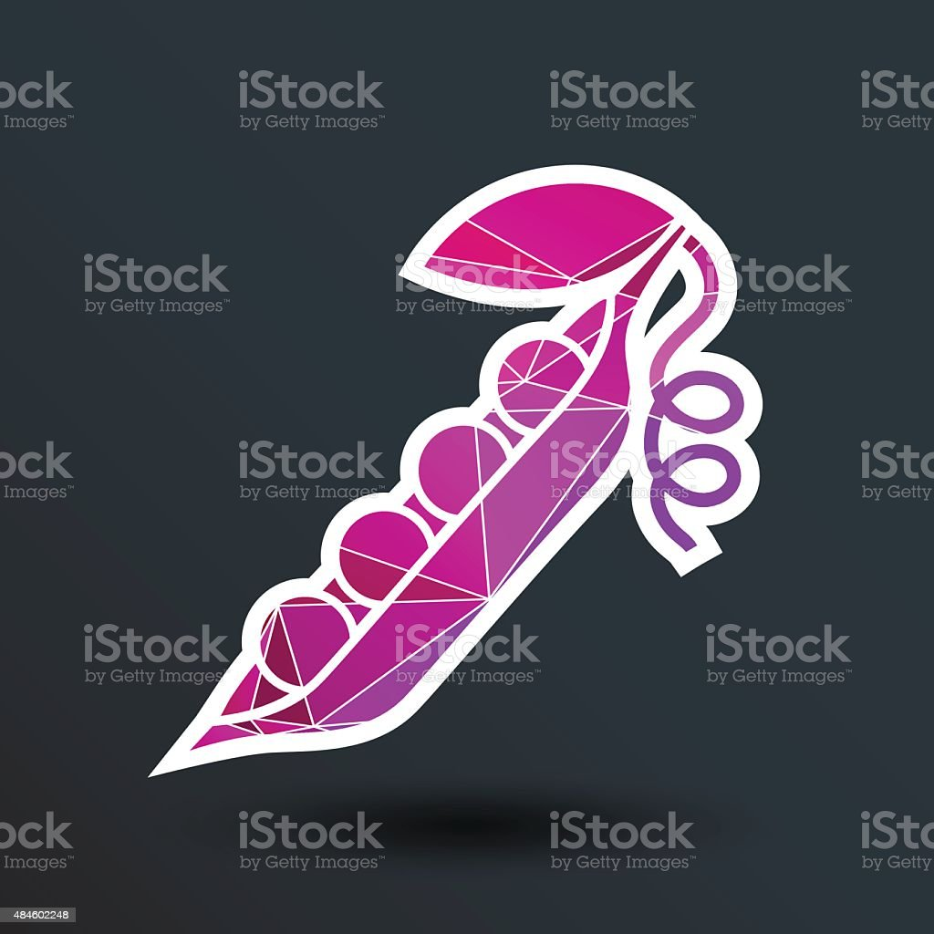 Vector pea pod isolated logo food natural vector art illustration