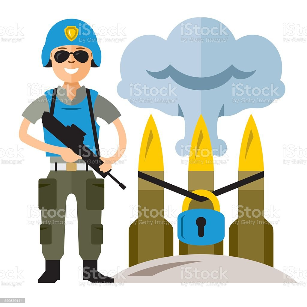 Vector Peacemaker in blue helmet. Flat style colorful Cartoon illustration. vector art illustration